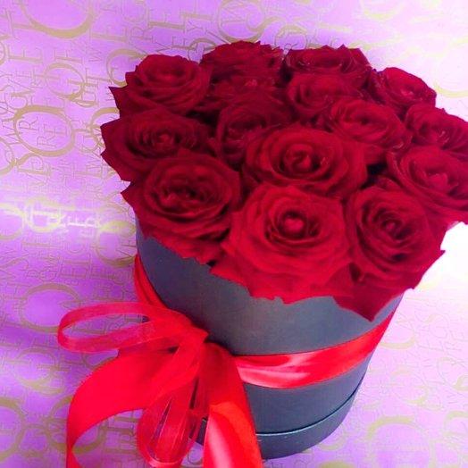 "Коробочка с розами ""Бордо"": букеты цветов на заказ Flowwow"