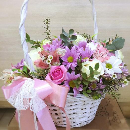 """Корзина с розами """"Кокетка"""": букеты цветов на заказ Flowwow"""