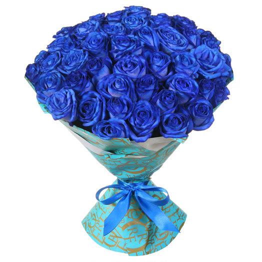 Букет из 51 синей розы: букеты цветов на заказ Flowwow