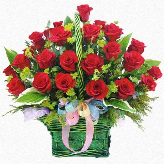 Корзинка с 31 розой