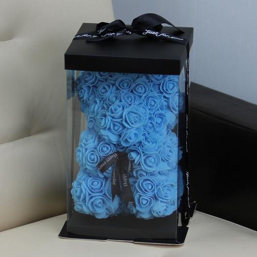 Мишка из роз «Небесно-голубой»: букеты цветов на заказ Flowwow