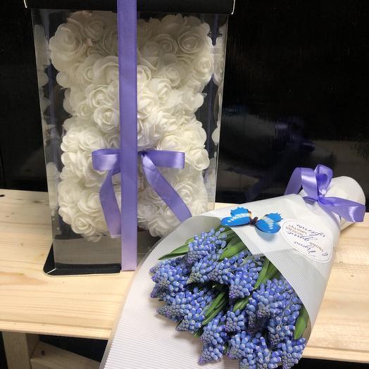 «Мишка с мускари»: букеты цветов на заказ Flowwow