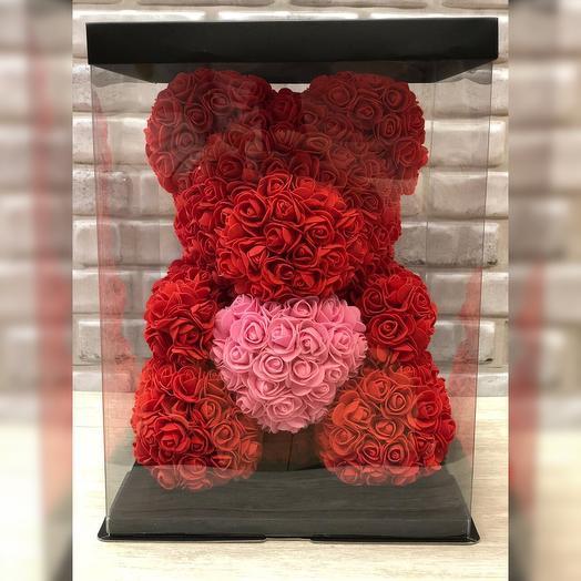 Красный мишка из роз: букеты цветов на заказ Flowwow