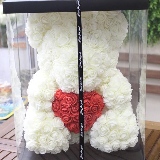 Мишка из искусственных роз 40см: букеты цветов на заказ Flowwow