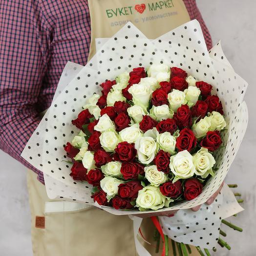 Букет из 65 разноцветных кенийских роз: букеты цветов на заказ Flowwow