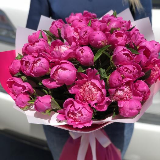 Букет из 39 малиновых пионов: букеты цветов на заказ Flowwow