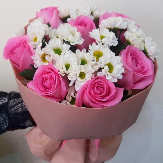 Букет из розы и сантини, Нежное облако