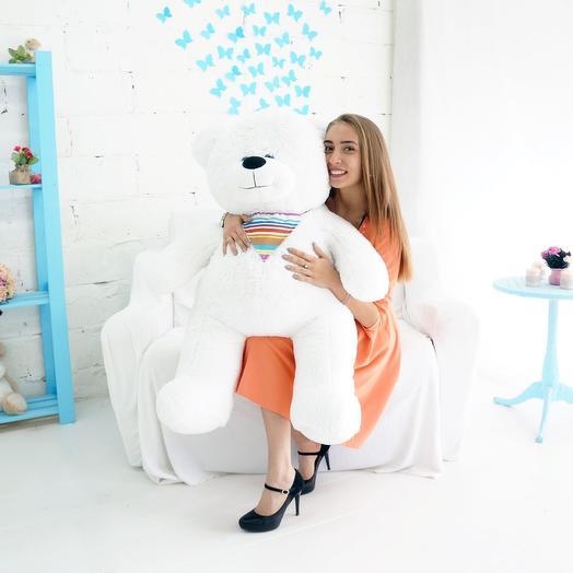 Мишка 105 см белый: букеты цветов на заказ Flowwow