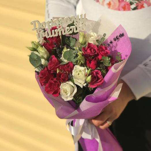 September 1. A bouquet of red roses with a rose Bush. N567: flowers to order Flowwow