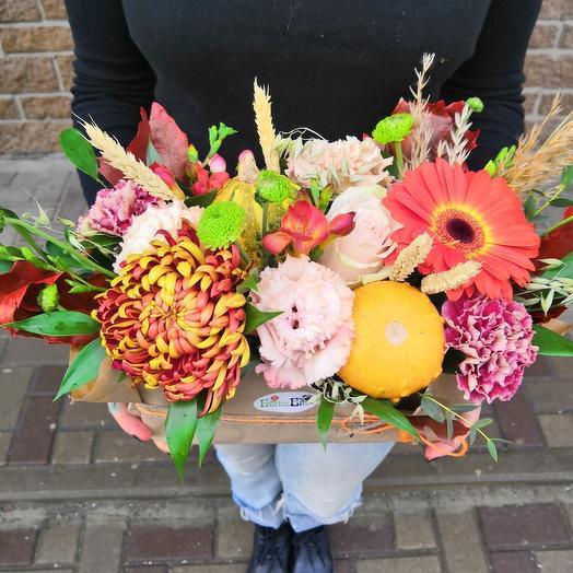 Осенняя композиция с тыквами: букеты цветов на заказ Flowwow