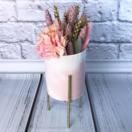 Композиция из сухоцветов «Мистик пинк»: букеты цветов на заказ Flowwow
