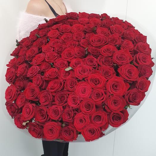 Букет из 101 красной премиум розы