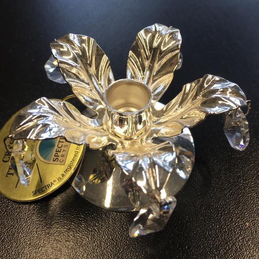 Подсвечник Цветок с кристаллами Сваровски