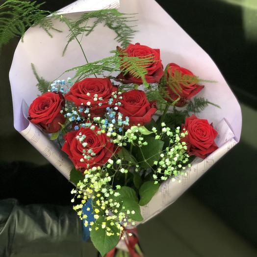 7 роз в нотной упаковке