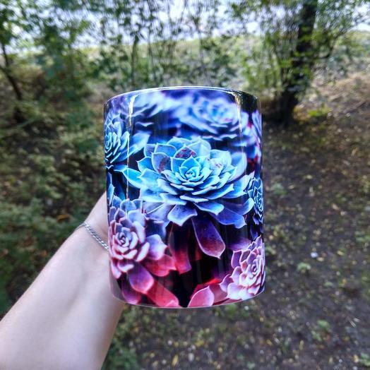 Кружка с суккулентами: букеты цветов на заказ Flowwow