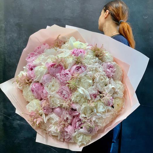 Огромный букет шикарных  пионов: букеты цветов на заказ Flowwow