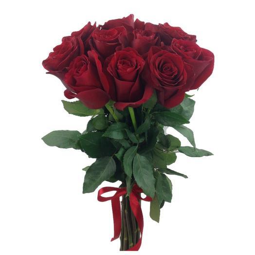 Охапка 11 красных роз Эксплорер 60 см