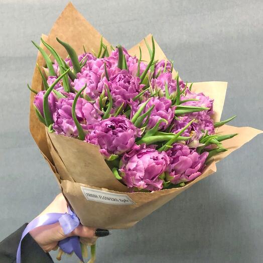 25 пионовидных тюльпанов Премиум