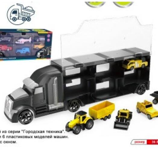 Грузовик, в наборе: автовоз и 6 пластиковых моделей машин, стройка