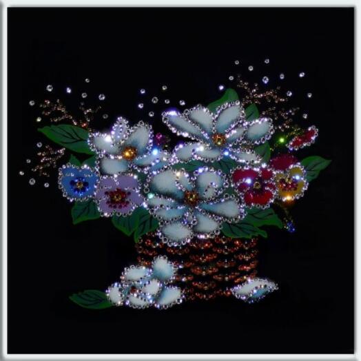 "Картина с кристаллами Swarovski ""Цветочная фантазия"""