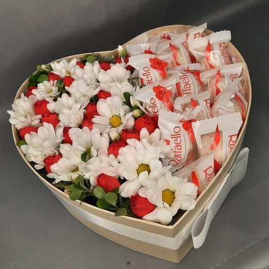 Коробка сердце  + рафаэлло