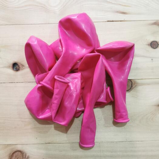 Шар ярко розовый, без рисунка , гелиевый