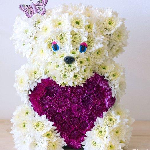 Мишка с сердечком: букеты цветов на заказ Flowwow