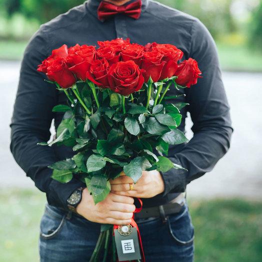 Букет из 21 красной голландской розы 60 см: букеты цветов на заказ Flowwow