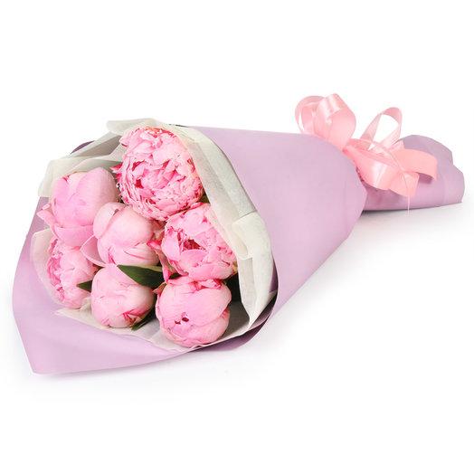 Bouquet of 7 pink peonies