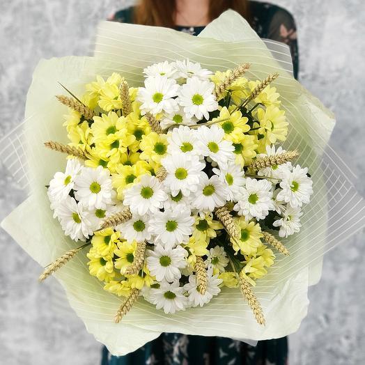Букет из хризантем и колосков пшеницы Ах, это  лето: букеты цветов на заказ Flowwow