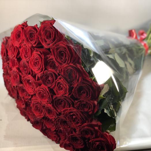 51 красная роза (70см): букеты цветов на заказ Flowwow