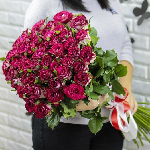 51 роза Парадисо 70 см: букеты цветов на заказ Flowwow