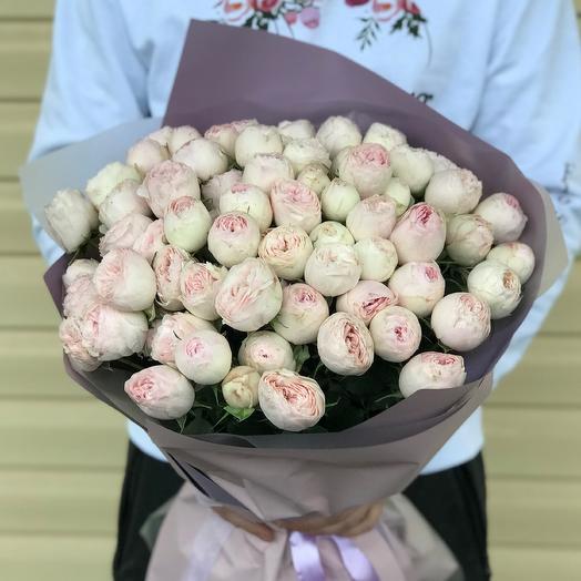 Букет из розовых пионовидных роз Мэнсфилд Парк (25 шт). N636