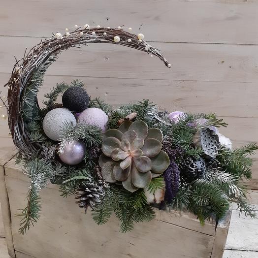 Стильная зимняя композиция с суккулентами: букеты цветов на заказ Flowwow