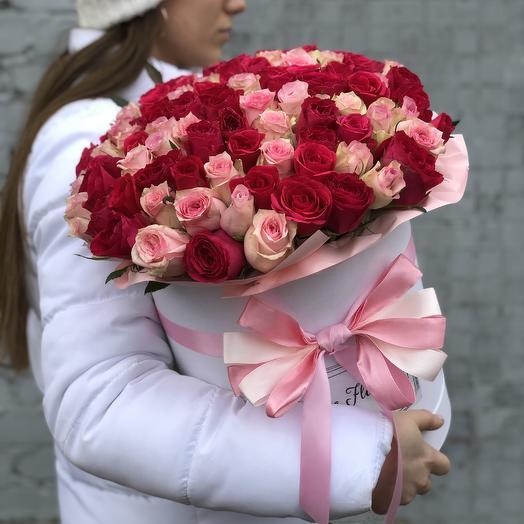 101 сочная роза в коробке