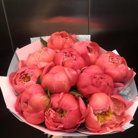 11 коралловых пионов: букеты цветов на заказ Flowwow