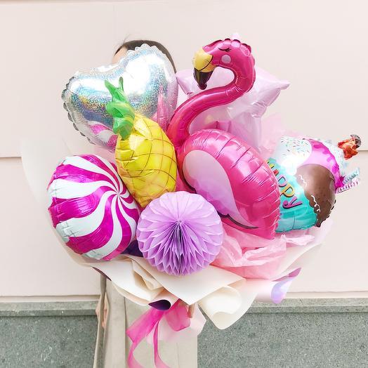Букет из воздушных шаров «Фламинго»: букеты цветов на заказ Flowwow