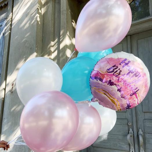 СЕТ из одного фольгированного HB и девяти розовых, белых и темно-бирюзовых шаров