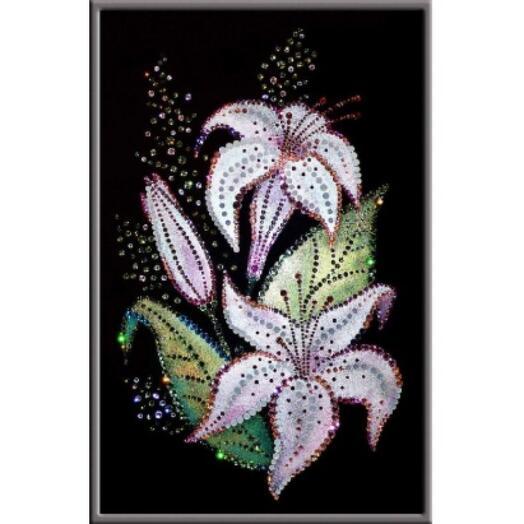 """Картина с кристаллами Swarovski """"Букет лилий"""""""