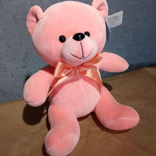 Велюровый розовый мишка