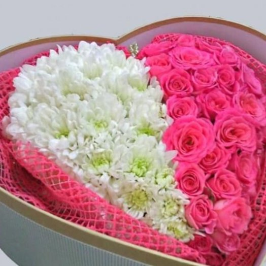 Сердце розовый фламинго: букеты цветов на заказ Flowwow