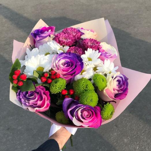 Букет ХИТ S с розами Bubble gum: букеты цветов на заказ Flowwow