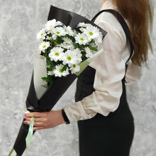 Стильный букет из кустовой хризантемы: букеты цветов на заказ Flowwow