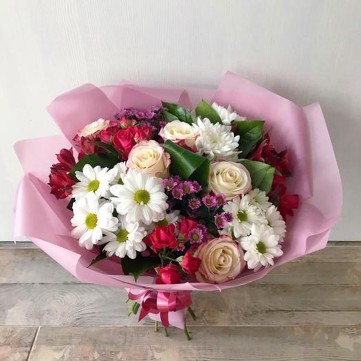 Роза с хризантемой