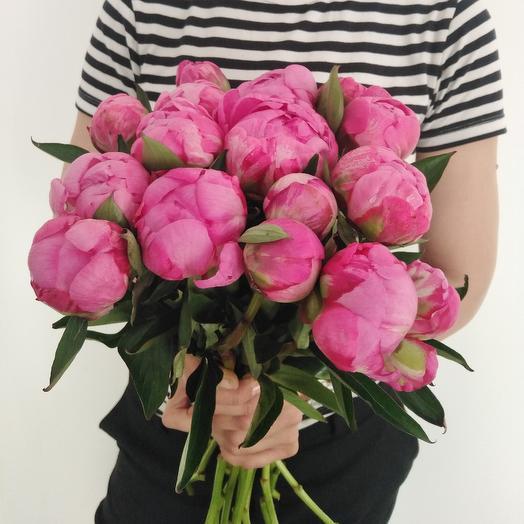 """Букет """"15 Малиновых Пион"""": букеты цветов на заказ Flowwow"""