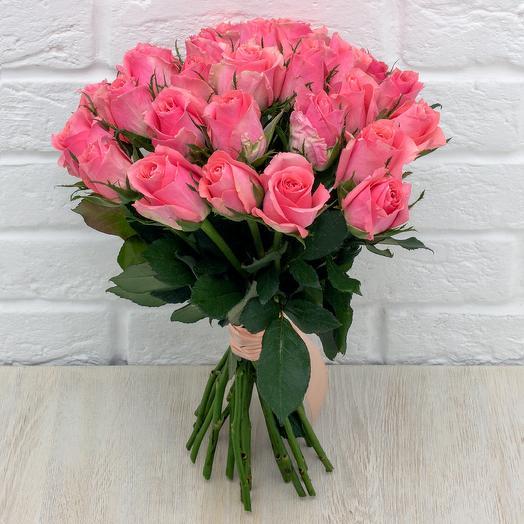 25 розовых роз 40 см