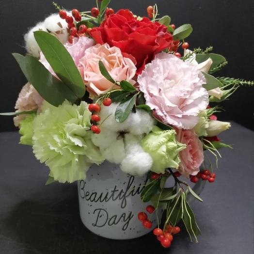 Композиция в кружке: букеты цветов на заказ Flowwow