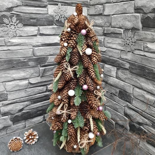 Новогодняя ёлочка в эко-стиле из натуральных материалов: букеты цветов на заказ Flowwow