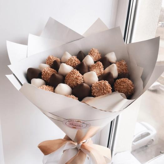 Букет из клубники в шоколаде «Орех»