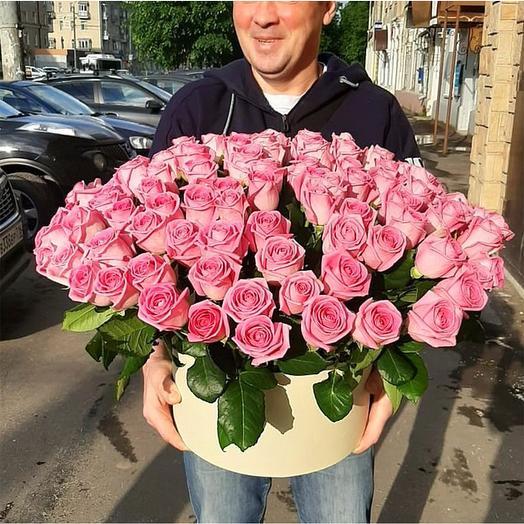 """Розы в шляпной коробке """"Люкс"""": букеты цветов на заказ Flowwow"""
